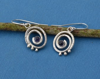 Sterling Silver Spiral Earrings with Iolite