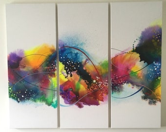 """NatesPaints-,""""Custom Triptych""""Abstract acrylic Painting, Fine Art, contemporary, home decor, organic, naturalistic, modern, triptych"""