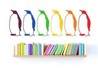 Rainbow penguin wall decal- set of six multicolor penguins