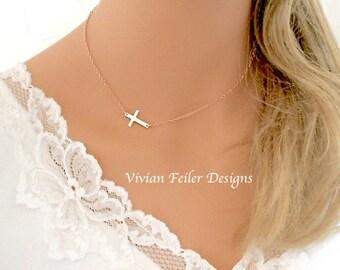 Sideways Cross Necklace ROSE GOLD Off Center Celebrity Style Kelly Ripa Side Cross Horizontal cross