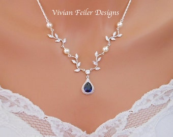 Wedding Necklace VINE Necklace Sapphire Blue Y Bridal Jewelry White or Ivory PEARLS Sterling Silver