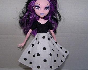 Handmade Monster High doll clothes - black and white polka dot dress