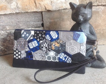 Doctor Who Dalek inspired hexagon quilted zipper pouch.