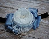 Reserved Listing for Julia - Custom Flower Bow in White Blue and Black