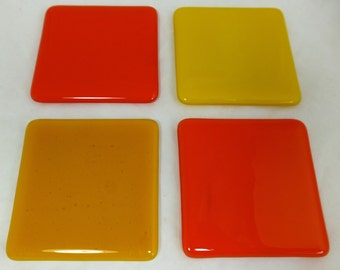 Glass Coasters with Yellow and Mandarin Opal Orange Combo - set of 4