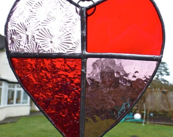 Stained Glass Red Love Heart Light Catcher Sun Catcher Valentine