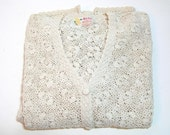 Vintage Crocheted Cotton Cardigan Sweater, Size Large