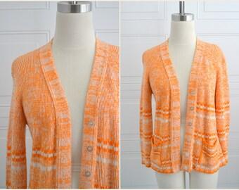 1970s Tangerine Marled Cardigan Sweater