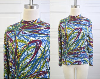 1960s Abstract Print Knit Turtleneck Shirt