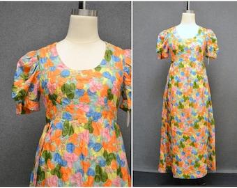 1960s Floral Maxi Dress