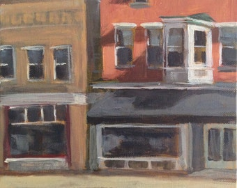 Quiet Downtown - 8x8 inch Original Acrylic Painting