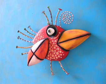Red Robin, Original Found Object Wall Sculpture, Wood Carving, Wall Decor, by Fig Jam Studio