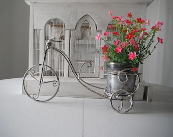 french country bike planter indoor planter shabby decor cottage chic rustic decor rustic bike w pot plant stand metal plant holder 13.75x5x8