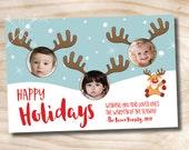 Reindeer Photo Booth 2/3 Kids Holiday Christmas Photo Card- Printable digital file