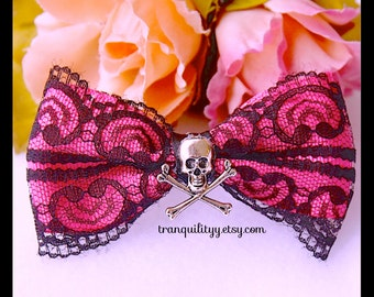 Skull Hair Bow, Cross Bones  Gothic Hair Bow , Lolita , Hot Pink Mint Green Handmade By: Tranquilityy