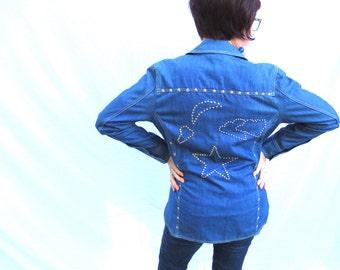 70s Hippie Denim Studded Shirt Jacket - Moon Stars Clouds Montgomery Ward Bedazzled Disco Shirt SZ 16 Jackpot Jen Vintage
