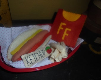 Felt hot dog & french fry set