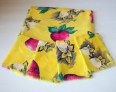 Strawberry tablecloth and napkins bridge party tablecloth vintage tropical fabric luncheon tablecloth and napkin set