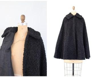 antique ladies black curly wool winter cape - faux Persian lamb cape / Victorian outerwear - gothic coat / Edwardian vampire cloak - 1900s