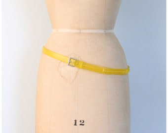 vintage 80s skinny slouch ladies belt - punk - cyber goth / Lemon Yellow - citrus neon / New Wave - 1980s