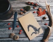 Ebony Spleenwort Fern Notebook Moleskine Journal Hand Carved Linocut Plant Botany Nature Christmas Gift Hostess Present Men Women Writer
