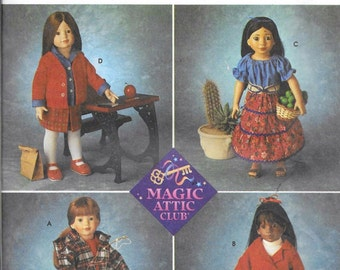 """Simplicity Pattern 8451 Craft Sewing Magic Attic Doll Clothes Skirt 18"""" American Girl"""