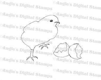Baby Chick Hatching Digital Stamp Image