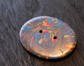 Polymer Clay Button Large Oval Swirl Design Red Brown Green Orange and Blue Button