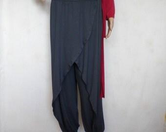 SALE plus size harem pant drop crotch pant oriental pant thai harem hippie pants boho pants grey jersey bloomers