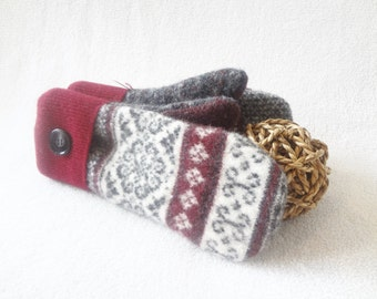 Felted Wool Mittens RED, WHITE & CHARCOAL Nordic / Fair Isle Eco-Friendly Sweater Mitts Fleece Lined Mittens by WormeWoole