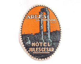 Vintage Hotel Jules César luggage label, original unused gummed paper ephemera, decal, sticker, baggage, Arles, France, orange blue black