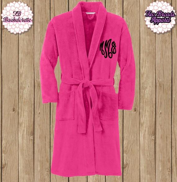 Spa Robe, Plush Fleece Robe, Monogram Microfleece Shawl Collar Robe, Monogram Robe, Fleece Robe, Mom and Dad Robe, Adult Robe