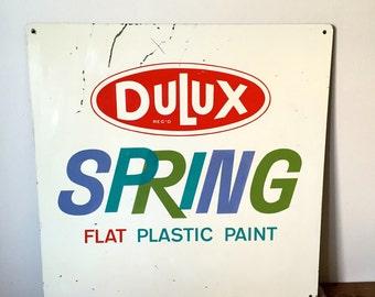 "VINTAGE INDUSTRIAL "" DULUX"" paint sign. Vintage home / industrial decor."