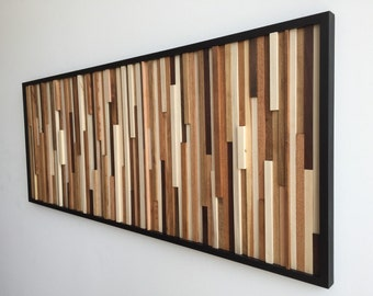 Wood Wall Art - Wood Art - Reclaimed Wood Art - 3D Art - Wall Installation - 24x60