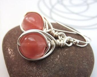 Cherry quartz earrings -  wire wrapped gemstone earrings - pink earrings - wire wrapped earrings - sterling silver ear hooks