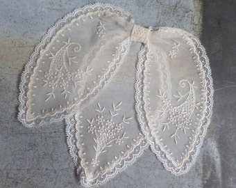 Antique French lace handmade ornament for dress blouse