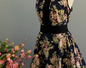 Luna Night Sweet Dress Pleated Top Navy Floral Party Dress Cocktail Prom Dress Garden Wedding Bridesmaid Dress Floral Sundress XS-XL