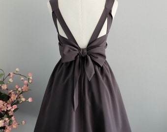 Charcoal gray dress gray party dress gray prom dress gray cocktail dress bow back dress gray bridesmaid dresses gray backless dress