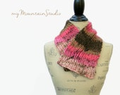 Pink and Brown Hand Knit Neckwarmer Scarf for Women - Handmade