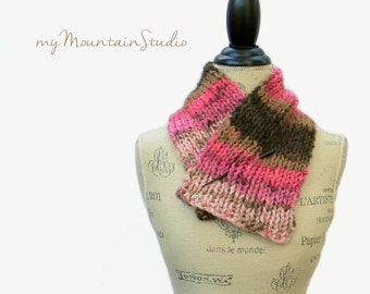 Pink and Brown Scarf, Neckwarmer Scarf, Handknit Scarf, Women's Scarf, Handmade Scarf, Fall Winter Scarf, Made in Montana
