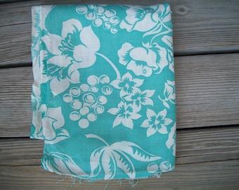 Dreaming in Aqua, Vintage Feedsack, Aqua Floral