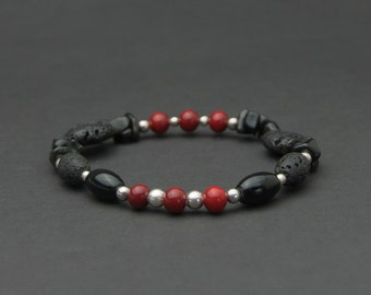 Black lava sterling silver red Murano glass bracelet. Black stone bracelet. Venetian glass jewellery. Natural stone bracelet. Gift for her.