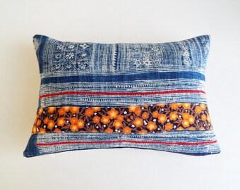 Batik Hmong Pillow Cover - Floral Patch Hmong Tribal Pillow - Boho Décor