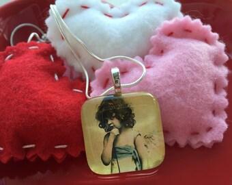 vintage valentine necklace. valentines day necklace. gift for her. angel girl. cherub. girls valentines necklace