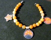 Peach Adverturine Semi-Precious stones with Imagine,Create,Believe Beaded Friendship Bracelet