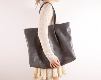 Grey Large Leather Tote Bag | Black and White Print Pattern Shoulder Bag | Unique Bag | Jazz ... Ready to Ship
