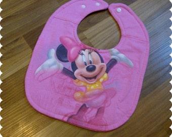 Disney Minnie Mouse Baby Bib, Recycled T-Shirt Bib, Disney Baby Shower, Baby Girl Gifts