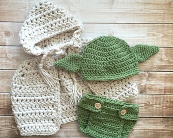 Yoda Inspired Hat, Cape with Matching Diaper Cover/Yoda Costume/Star Wars Inspired Hat Available in Newborn to 12 Months Size- MADE TO ORDER