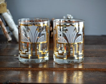 Pair of Vintage Georges Briard Art Deco Old Fashioned Tumblers