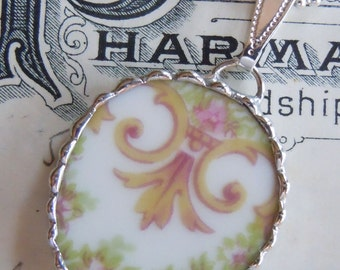 Fiona & The Fig Victorian-Antique French Limoges-Broken China Soldered Necklace Pendant Charm-Jewelry